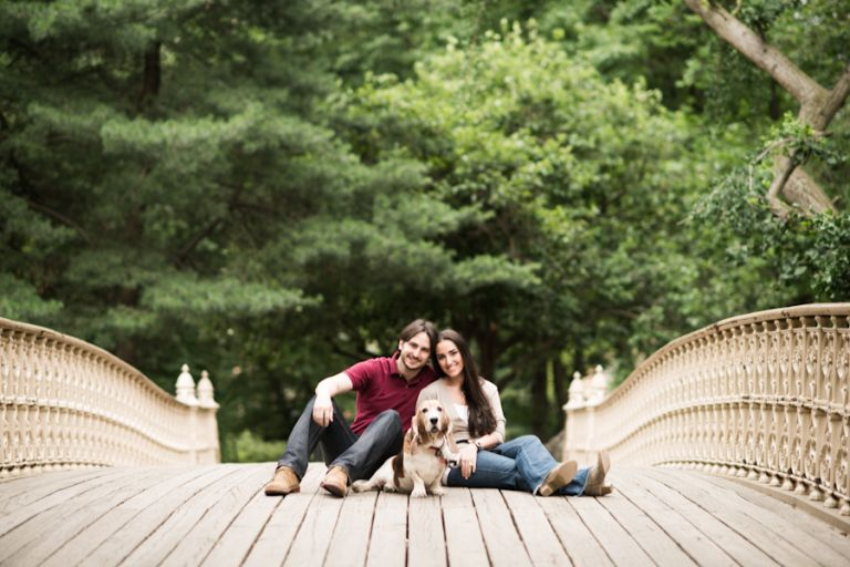 Margot and Alex pose with their dog Baby Girl during their engagement session in Central Park with awesome NY wedding photographer Ben Lau.
