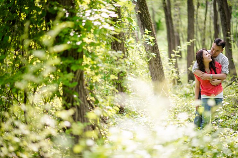 Sally and Terence share a moment in the woods in Bear Mountain, NY. Captured by awesome NJ wedding photographer Ben Lau.