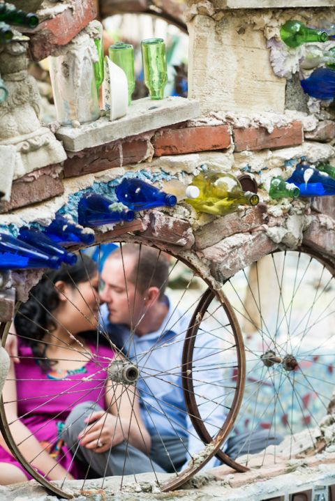 Engagement session at the Magic Gardens in Philadelphia, PA. Captured by awesome NJ wedding photographer Ben Lau.