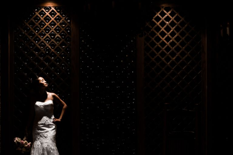 Bride Sarah poses along a wine cellar inside The Manor in West Orange, NJ. Captured by awesome NJ wedding photographer Ben Lau.