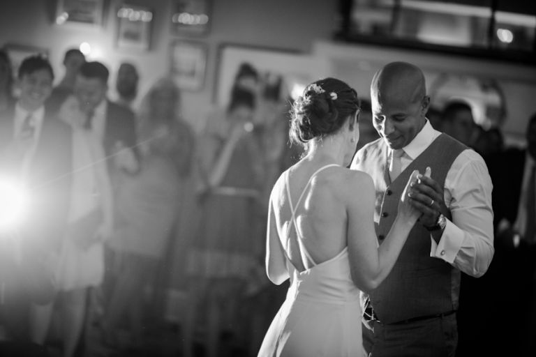 Bride and groom's first dance on their wedding day at the Ram's Head Inn on Shelter Island. Captured by New Jersey Wedding Photographer Ben Lau.