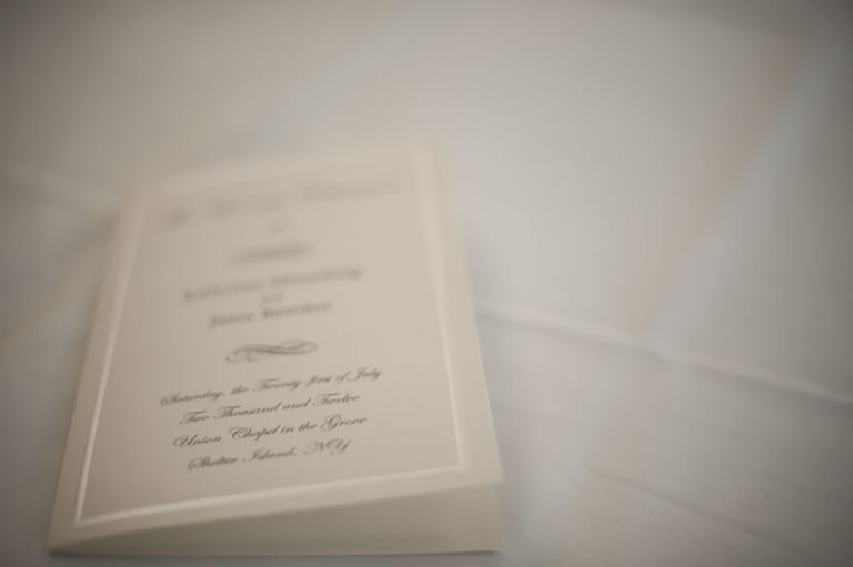 Invitations for Katie and Jason's wedding day at Ram's Head Inn on Shelter Island, NY. Captured by Northern NJ wedding photographer Ben Lau.