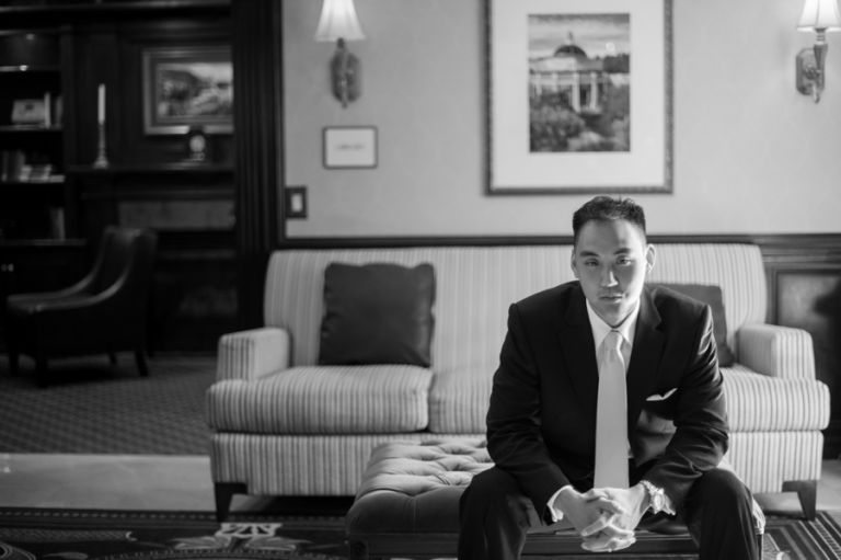Groom Ed poses for a portrait on the morning of his wedding day at The Manor in West Orange, NJ. Captured by northern nj wedding photographer Ben Lau.