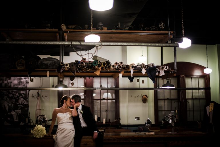 Bride and groom portraits at the Baltimore Museum of Industry. Captured by Ben Lau Photography.