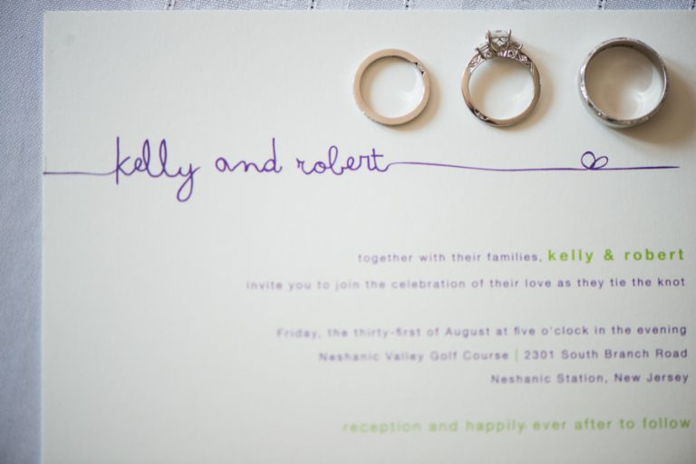 Rings and invitation to Kelly and Rob's wedding at the Neshanic Valley Golf Course in Neshanic Station, NJ. Captured by northern NJ wedding photographer Ben Lau.