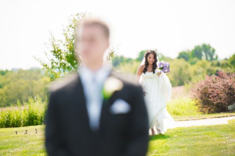 Bride and Groom's first look at their Neshanic Valley Golf Course wedding in Neshanic Station, NJ. Captured by northern NJ wedding photographer Ben Lau.