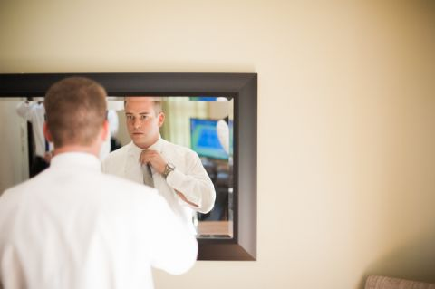 Groom gets ready for his Neshanic Valley Golf Course wedding in Neshanic Station, NJ. Captured by northern NJ wedding photographer Ben Lau.