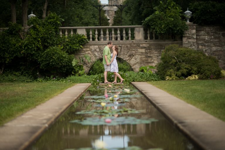 ... Cat and Matt pose during their engagement session at the NJ Botanical Gardens with awesome NJ