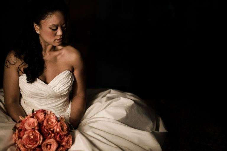 Bride poses during portraits on his wedding day at Perona Farms in Andover, NJ. Captured by northern NJ wedding photographer Ben Lau.