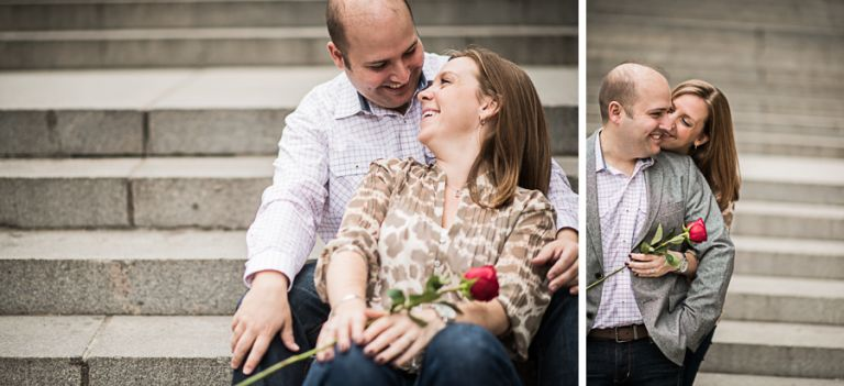 Katie and Craig sit in front of the Met Museum during their engagement session with NYC wedding photographer Ben Lau.