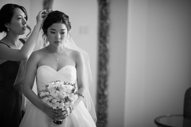 Bride prepares for her wedding ceremony at The Grove in Cedar Grove, NJ. Captured by northern NJ wedding photographer Ben Lau.