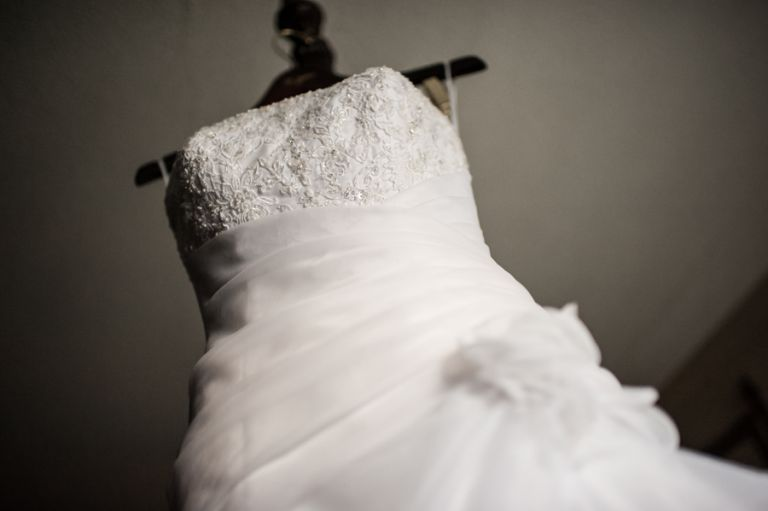 Bride's dress on the morning of her wedding at the Madison Hotel in Morristown, NJ. Captured by NJ wedding photographer Ben Lau.