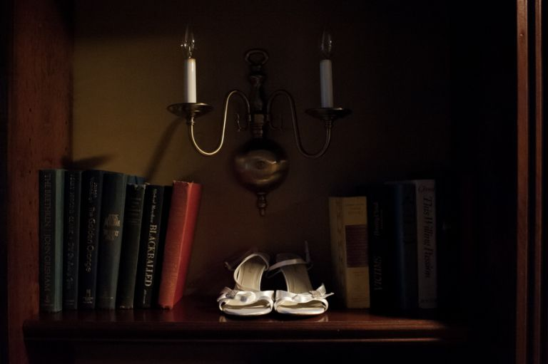 Bride's shoes on the morning of her wedding at the Madison Hotel in Morristown, NJ. Captured by NJ wedding photographer Ben Lau.