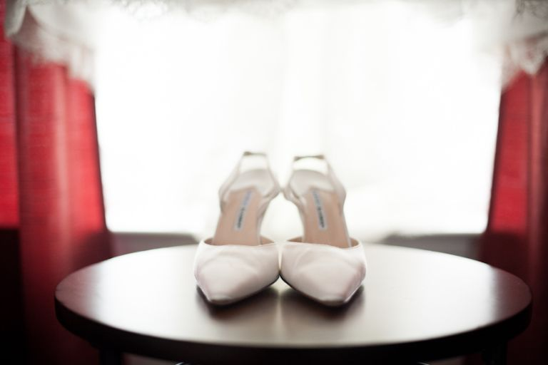 Bride's shoes for her wedding day at Mercer Oaks in Princeton Junction, NJ. Captured by NJ wedding photographer Ben Lau.