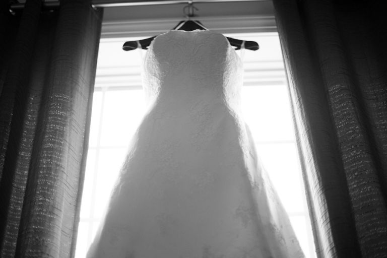 Bride's dress for her wedding day at Mercer Oaks in Princeton Junction, NJ. Captured by NJ wedding photographer Ben Lau.