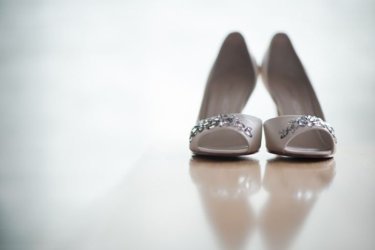 Bride's shoes for a wedding at The Mill in Spring Lake Heights, NJ. Captured by northern NJ wedding photographer Ben Lau.