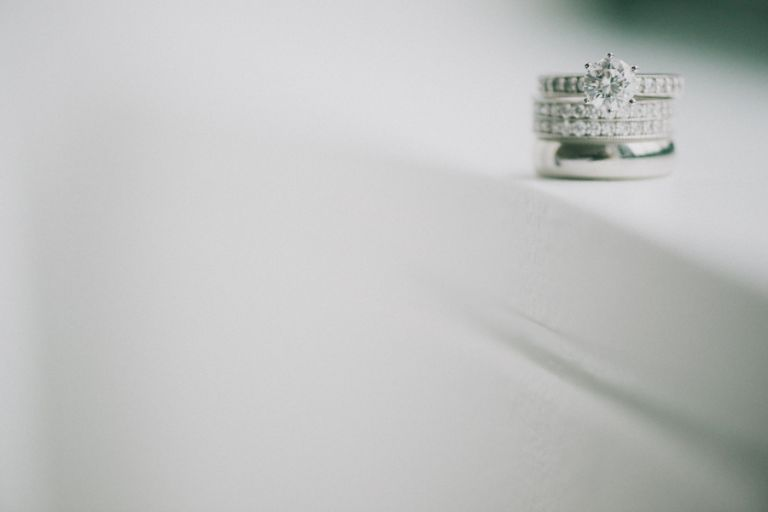 Wedding rings at the Bryant Park Hotel, NY. Captured by NYC wedding photographer Ben Lau.