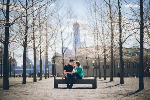 Couple with their dog during engagement session in Hoboken, NJ.