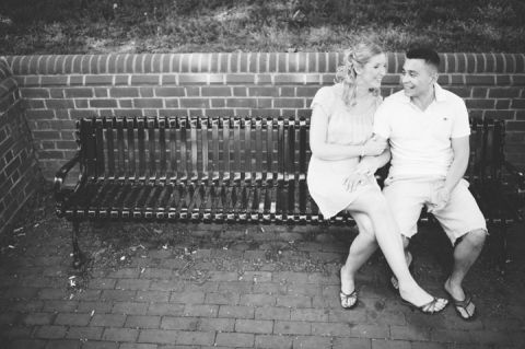 Couple smiles during their engagement session, captured by Annapolis wedding photographer Ben Lau.