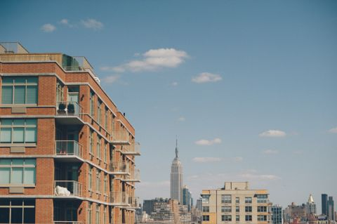 NY skyline through Hoboken rooftops.