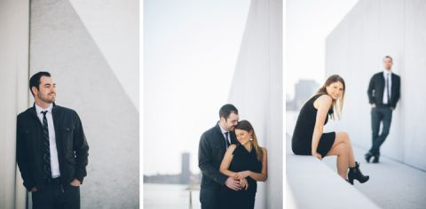 Couples pose on Roosevelt Island during their NYC engagement session with Ben Lau Photography.
