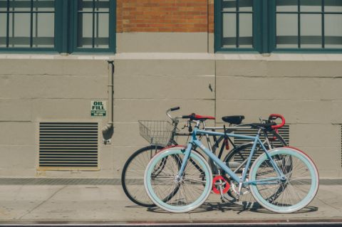 Bicycles on the street. Captured by NYC wedding photographer Ben Lau.