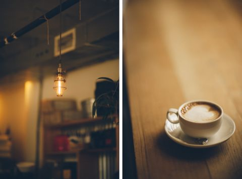 Cups of coffee in Jersey City during an engagement session with NYC wedding photographer Ben Lau.