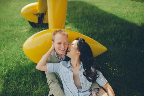 Engagement session at an airfield in Philadelphia, PA. Captured by NJ wedding photographer Ben Lau.