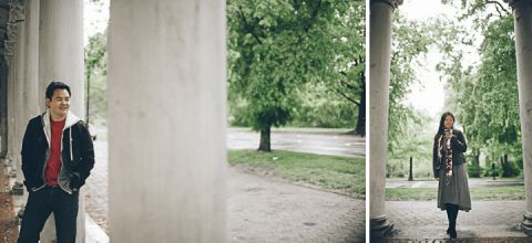 Couple poses during their engagement session in Prospect Park with NYC wedding photographer Ben Lau.
