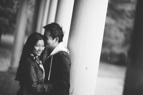 Rainy engagement session in Prospect Park with NYC wedding photographer Ben Lau.