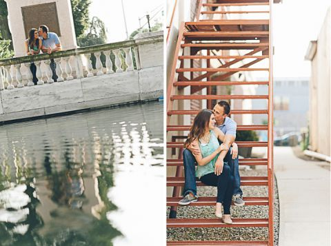 Couple sits on steps during their engagement session in Morristown with NJ wedding photographer Ben Lau.