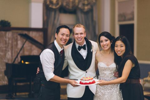 Bride and groom shares wedding anniversary with their wedding photographers.