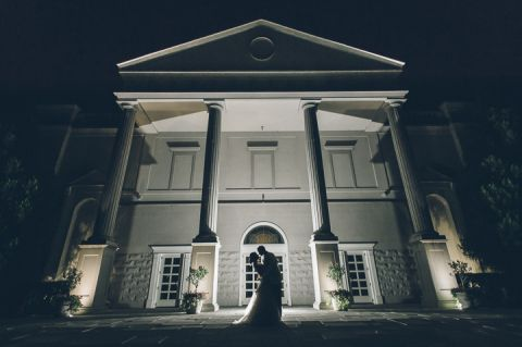 Evening bridal portrait at The Palace at Somerset Park, NJ. Captured by NJ Wedding Photographer Ben Lau.