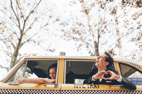 Wedding photos with a vintage taxi in Red Hook, Brooklyn. Captured by NYC wedding photographer Ben Lau.