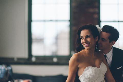 Wedding photos at the Tribeca Rooftop in New York City. Captured by NYC wedding photographer Ben Lau.