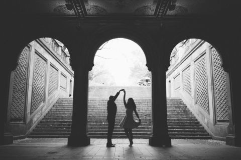 Engagement session on the steps of the Bethesda Arcade in Central Park. Captured by NYC wedding photographer Ben Lau.
