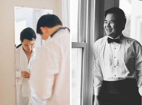 Groom portraits on the morning of Winny and Conan's wedding at the Ritz Carlton in San Francisco.