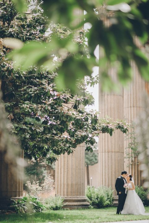 Bride and groom portraits at the Palace of Fine Arts on the morning of Winny and Conan's wedding at the Ritz Carlton in San Francisco.