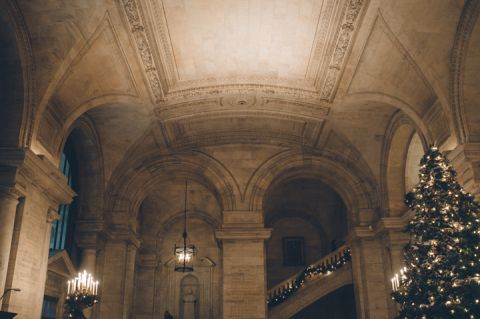 Holiday decor at the NY Public Library. Captured by NYC wedding photographer Ben Lau.
