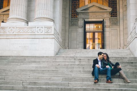 Jessica and Jon's engagement session in Midtown Manhattan with NYC wedding photographer Ben Lau.