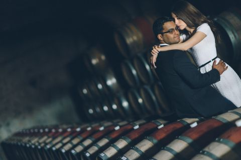 Tivoli and David pose during their engagement session at Raphael Winery in Peconic, NY. Captured by NYC wedding photographer Ben Lau.
