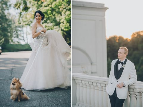 Bride and groom portraits for their wedding day at the Palace in Somerset Park, NJ. Captured by NJ wedding photographer Ben Lau.