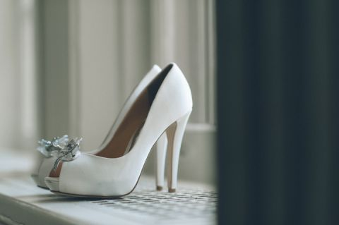 Wedding shoe shot for a Tappan Hill Mansion wedding in Tarrytown, NY. Captured by NYC wedding photographer Ben Lau.