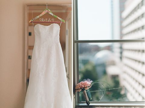 Bride's dress on the morning of her wedding in Northern Virginia. Captured by NYC wedding photographer Ben Lau.