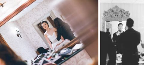 Bride and groom portrait on their wedding at the Estate at Florentine Garden. Captured by NYC wedding photographer Ben Lau.