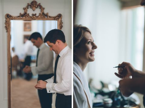 Bride and groom prepare for their New York City Hall wedding, captured by NYC wedding photographer Ben Lau.