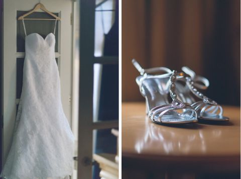 Bride's dress and shoes for her wedding at Mudan in Flushing, NY. Captured by NYC wedding photographer Ben Lau.