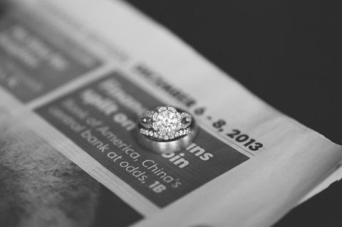 Wedding rings and newspaper. Captured by NYC wedding photographer Ben Lau.