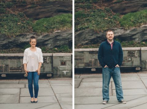 Solo portraits of couple during their engagement session in Central Park. Captured by NYC wedding photographer Ben Lau.