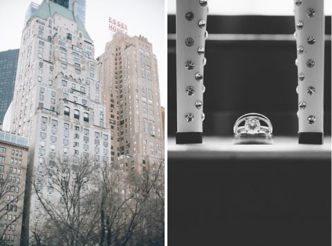 Essex house and wedding ring shot. Captured by NYC wedding photographer Ben Lau.